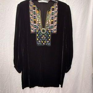 Zara Woman Premium Denim Coll Velvet Embroidery